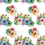 Beautiful bright lovely colorful tropical hawaii floral herbal summer pattern of tropical flowers hibiscus, palms leaves and lovel Stock Photography