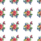 Beautiful bright lovely colorful tropical hawaii floral herbal summer pattern of tropical flowers and red pink green yellow blue p. Urple tropical butterflies Royalty Free Stock Photos