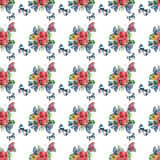 Beautiful bright lovely colorful tropical hawaii floral herbal summer pattern of tropical flowers and red pink green yellow blue p. Urple tropical butterflies stock illustration