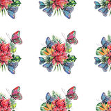 Beautiful bright lovely colorful tropical hawaii floral herbal summer pattern of tropical flowers and red pink green yellow blue p. Urple tropical butterflies Royalty Free Stock Image