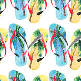 Beautiful bright lovely comfort summer pattern of beach blue yellow flip flops with tropical palm design watercolor. Hand illustration Stock Image