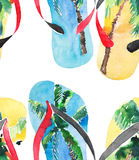 Beautiful bright lovely comfort summer pattern of beach blue yellow flip flops with tropical palm design watercolor. Hand illustration Stock Photos