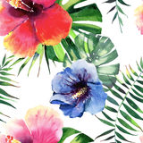 Beautiful bright lovely wonderful green tropical hawaii floral herbal summer colorful pattern of tropical flowers hibiscus and pal Stock Photo