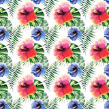 Beautiful bright lovely wonderful green tropical hawaii floral herbal summer colorful pattern of tropical flowers hibiscus and pal Stock Photos
