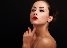Beautiful bright makeup female model looking Stock Images