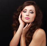 Beautiful bright makeup woman with long hair and closed eyes Stock Photo