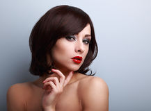 Beautiful bright makeup woman with red lipstick and smoky eyes Stock Photos