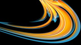Beautiful bright motley yellow orange abstract energetic magical cosmic fiery neon texture of lines and stripes, waves, flames. With twists and turns on a black stock illustration