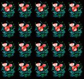 Beautiful bright pattern of red poppies with green leaves and heads on black background watercolor hand sketch. Beautiful bright pattern of red poppies with Stock Images