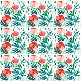 Beautiful bright pattern of red poppies with green leaves and heads watercolor. Hand sketch Stock Photo