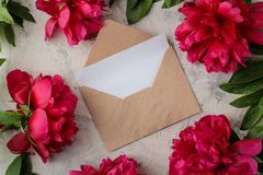 Beautiful bright pink flowers peonies and an envelope with a blank and on a bright concrete background. top view. space for text stock images