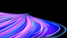 Beautiful bright purple pink abstract energetic magical cosmic fiery texture of lines and stripes, waves, flames with curves. Turning into infinity on a black royalty free illustration