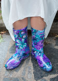 Beautiful bright purple rubber boots Royalty Free Stock Photography