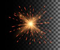 Beautiful bright red firework decoration firework for Christmas New Year celebration holiday festival birthday isolated on the tra. Nsparent background website Stock Image