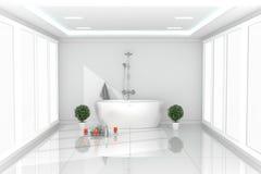 Beautiful bright room interior - Modern white bathroom - white empty concept room. 3d rendering. Mock up Beautiful bright room interior - Modern white bathroom stock illustration