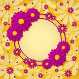 Beautiful bright round frame with 3d pink and purple paper cut out flowers on yellow background. Paper art design. Vector illustration royalty free illustration