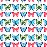 Beautiful bright sophisticated magnificent wonderful tender gentle spring tropical green red blue purple butterflies pattern. Watercolor hand illustration royalty free illustration