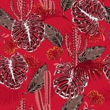 A Beautiful bright summer tropical monotone red pattern with exo. Tic forest and cactus. Colorful stylish floral background print,Jungle flower with leaves Stock Photos
