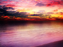 Beautiful bright sunset. Over the ocean royalty free stock image
