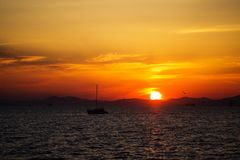 Beautiful bright sunset on the sea royalty free stock image