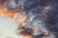 Beautiful bright sunset sky with pink clouds, natural abstract b royalty free stock images