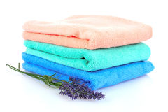 Beautiful bright towels and lavender isolated Royalty Free Stock Images