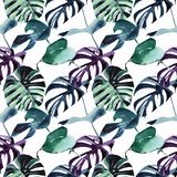 Beautiful bright tropical cute lovely wonderful hawaii floral herbal beach summer green blue violet pattern of a palms watercolor. Hand illustration. Perfect stock illustration