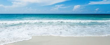 Beautiful bright tropical landscape, perfect beach, blue sky, white sand, turquoise water royalty free stock photo