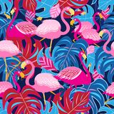 Beautiful bright tropical pattern of pink flamingos. And leaves on a blue background Royalty Free Stock Photos