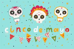 Beautiful bright vector illustrations with traditional Mexican sugar skulls and lettering. Beautiful bright vector illustrations with design for Mexican holiday Royalty Free Stock Photo