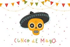 Beautiful bright vector illustrations with traditional Mexican sugar skulls and lettering. Beautiful bright vector illustrations with design for Mexican holiday Stock Image
