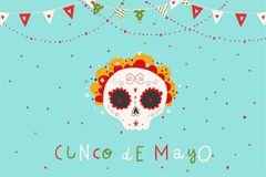 Beautiful bright vector illustrations with traditional Mexican sugar skulls and lettering. Beautiful bright vector illustrations with design for Mexican holiday