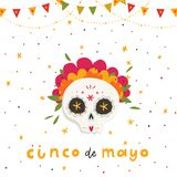 Beautiful bright vector illustrations with traditional Mexican sugar skulls and lettering. Beautiful bright vector illustrations with design for Mexican holiday Stock Photography
