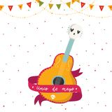 Beautiful bright vector postcard with guitar, ribbon and lettering. Beautiful bright vector illustrations with design for Mexican holiday 5 may Cinco De Mayo Royalty Free Stock Photography
