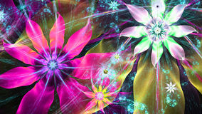 Beautiful bright vivid modern flower background in pink,yellow,cyan,green colors Stock Images