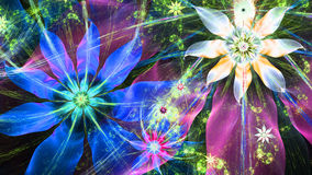 Beautiful bright vivid modern flower background in shining blue,pink,yellow,green colors Stock Photos