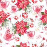 Beautiful bright watercolor New Year pattern with Christmas flower and gifts. vector illustration