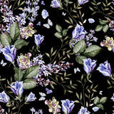 A beautiful bright watercolor pattern with lavender and eustoma Stock Image