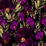 Beautiful bright watercolor pattern with roses. Royalty Free Stock Photo