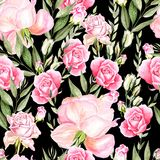 Beautiful bright watercolor pattern with roses. Stock Photography