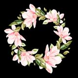 Beautiful, bright watercolor wreath with magnolia. Illustration Royalty Free Stock Photos