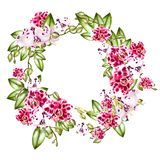 Beautiful, bright watercolor wreath with orchids. Illustration Royalty Free Stock Photo
