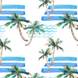 Beautiful bright wonderful abstract cute green tropical lovely wonderful hawaii floral herbal summer pattern of a palm trees and s. Ea waves watercolor hand Royalty Free Stock Image