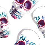 Beautiful bright wonderful graphic artistic abstract cute halloween stylish skulls watercolor hand illustration. Perfect for textile, wallpapers, wrapping Royalty Free Stock Photo