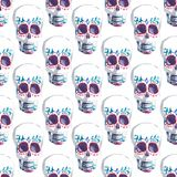 Beautiful bright wonderful graphic artistic abstract cute halloween stylish skulls watercolor hand illustration. Perfect for textile, wallpapers, wrapping Stock Photo