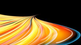 Beautiful bright yellow orange abstract energetic magical cosmic fiery texture of lines and stripes, waves, flames with twists. Turns turning into infinity on a stock illustration
