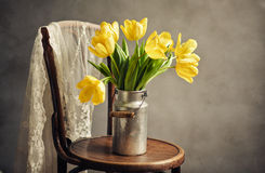 Still Life with Yellow Tulips Stock Image
