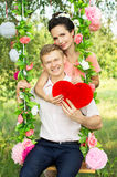 Beautiful bright young couple in nature Royalty Free Stock Images