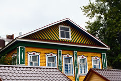 Beautiful, brightly colored wooden house Royalty Free Stock Images