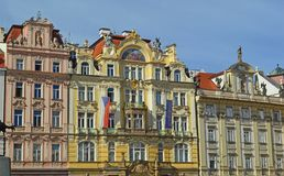 Beautiful brightly painted baroque palaces that line the old town square prague. Staroměstské náměstí - Beautiful brightly painted baroque stock image